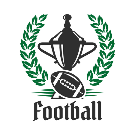 sports winner: Football championship icon with winner trophy cup and american football ball encircled by heraldic laurel wreath. Great for sporting competition theme or sports club design