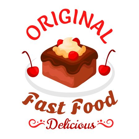 brownie: Fast food sweet treats symbol with brownie cake topped with chocolate sauce, vanilla cream and cherries fruits. Chocolate cake badge for pastry shop or fast food dessert menu design Stock Photo