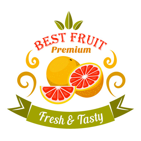 wholesome: Wholesome ripe grapefruit fruits badge framed by orange swirls and curved ribbon banner with caption Fresh and Tasty. Retro stylized fruits icon for organic shop symbol and food packaging design usage