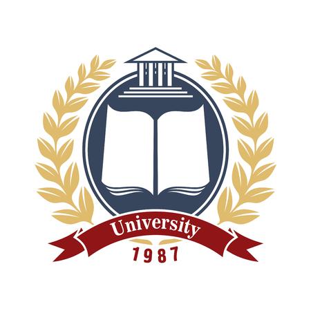 insignias de la Universidad con el libro abierto en el marco gris ovalada, decorado por la corona de laurel y ondulado bandera de la cinta de color rojo a continuación. Grande para la escuela, colegio o academia el uso del diseño símbolo heráldico