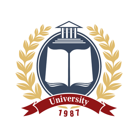 book logo: University insignia with open book in oval gray frame, decorated by laurel wreath and wavy red ribbon banner below. Great for school, college or academy heraldic symbol design usage Illustration