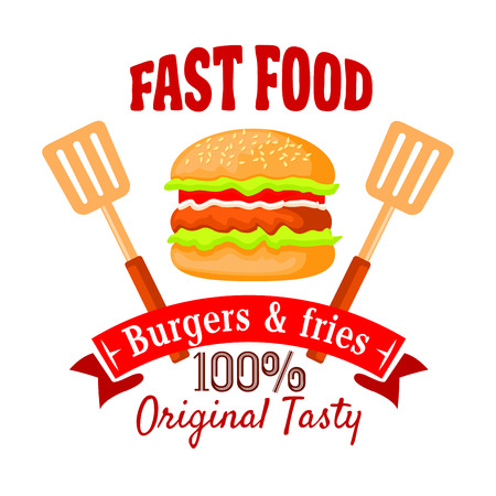 flanked: Burger shop badge design template of fast food hamburger with beef patty, salad, tomato and onion vegetables on sesame bun, flanked by spatulas and ribbon banner with text Burgers and Fries. Fast food cafe takeaway menu design usage