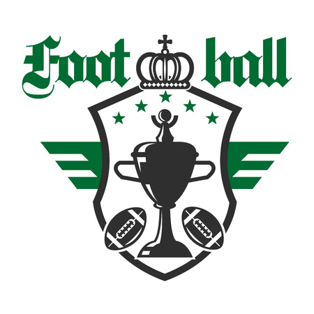 league: American football sporting tournament badge of champion trophy cup with balls and stars on winged heraldic shield with crown on the top. Sports competition theme design usage