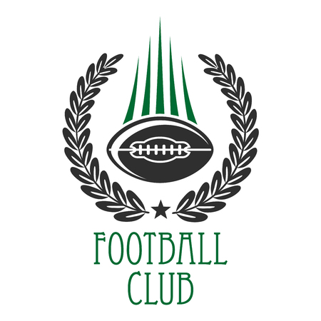sporting: Vintage heraldic sporting symbol of flying american football ball with motion trails, framed by laurel wreath. Use as football sporting club insignia design Illustration