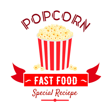 sweetened: Takeaway sweetened popcorn icon in red and white striped bucket, decorated by ribbon banner with caption Fast Food. Use as cinema fast food cafe badge or food packaging design