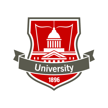 educational institution: Heraldic badge of university with white silhouette of educational institution building with open book, placed on a shield with curved ribbon banner and foundation date. Great for education design