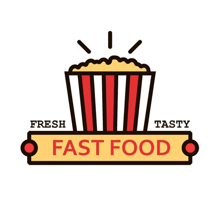 signboard design: Fresh popcorn linear icon with takeaway striped bucket of caramel corn standing on yellow banner with caption Fast Food. Movie theater fast food cafe menu or hanging signboard design