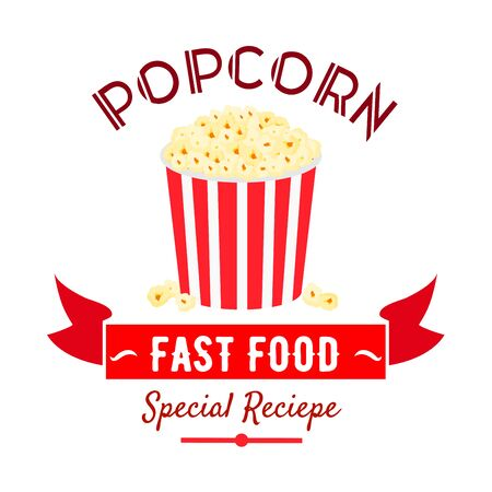 badge with ribbon: Takeaway sweetened popcorn icon in red and white striped bucket, decorated by ribbon banner with caption Fast Food. Use as cinema fast food cafe badge or food packaging design