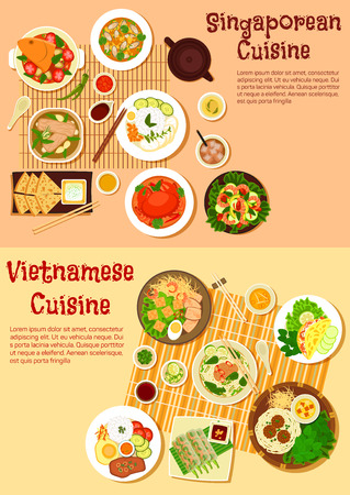 Asian cuisine icon with flat symbols of vietnamese spring rolls and singaporean chilli crab, seafood curries and meat soups, shrimp salad and nasi lemak rice, flatbread with tartar sauce and rice pancake, noodles with meatballs and vermicelli cakes Illustration