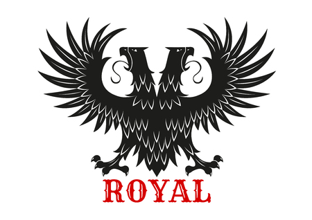 double headed eagle: Royal eagle icon with mythical double headed black bird standing with wings spread. Symbol of courage and power for heraldic coats of arms or tattoo design usage Illustration