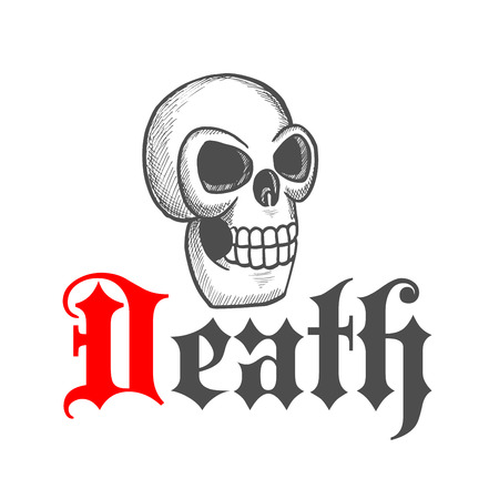 destroyed: Sketched gothic skull icon with large eye sockets and destroyed bone. Great for Halloween or day of the dead mascot design