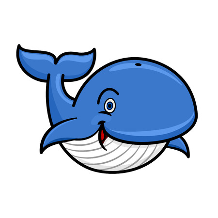 baleen whale: Cartoon baleen whale character with blue spine and striped white underside swimming with playfully raised tail and happy smile. Use as marine wildlife mascot or t-shirt print design