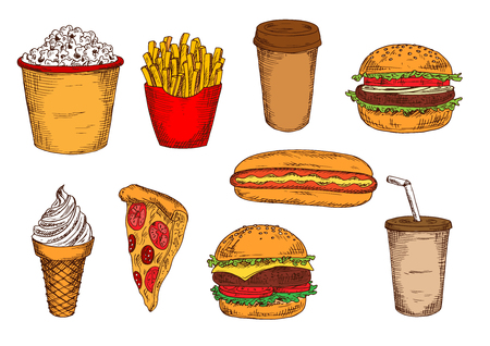soft serve ice cream: Takeaway packages of french fries and popcorn, fast food hamburger, cheeseburger, hot dog and slice of pizza, paper cups of coffee and soda, soft serve ice cream cone sketches Illustration