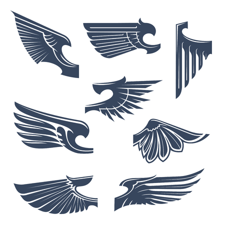 feathering: Medieval heraldry symbols of birds or mythical beasts wings with tribal stylized pointed feathering. Tattoo or coat of arms design elements