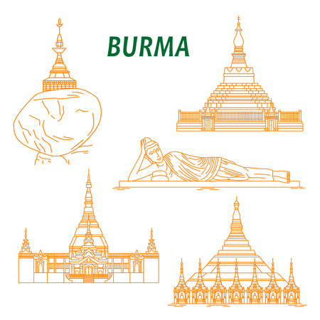 stupa: Popular buddhist pilgrimage and tourist sites of Myanmar symbols with Shwezigon Pagoda, Kyaiktiyo Pagoda, Reclining Buddha, Uppatasanti Pagoda and Bagan Temple. Thin line style Illustration