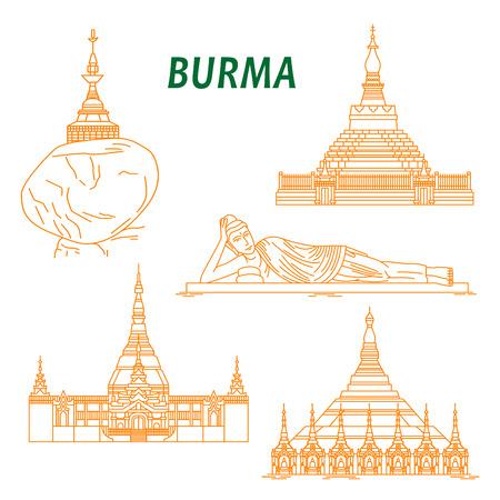 reclining: Popular buddhist pilgrimage and tourist sites of Myanmar symbols with Shwezigon Pagoda, Kyaiktiyo Pagoda, Reclining Buddha, Uppatasanti Pagoda and Bagan Temple. Thin line style Illustration