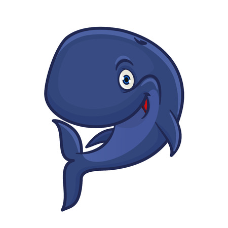 baleen whale: Joyful smiling blue sperm whale cartoon character for sea adventure hero or underwater wildlife mascot design with funny cachalot preparing for deep dive