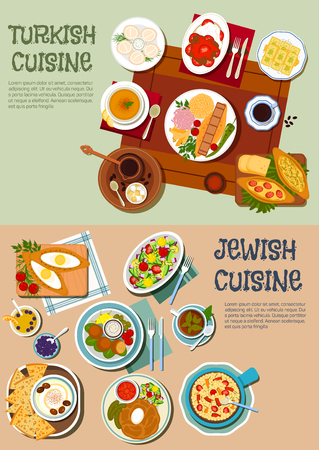turkish dessert: Festive dishes of jewish and turkish cuisine symbol with kebabs and pilaf, hummus with olives and matzah, falafels, vegetable and chickpea salads, dumplings and open pies, lentil soup and cholent stew, turkish coffee with baklava and lokum. Flat style Illustration
