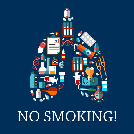 enema: No smoking symbol with flat icons of doctor and medicine bottles, pills, capsules and syringes, laboratory flasks and test tubes, dna and cell models, pipettes, enema and crutches arranged in a shape of human lungs