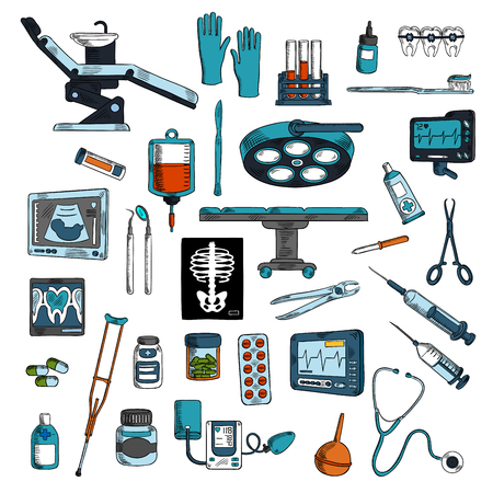 operation for: Medical instruments and equipments for surgery, dentistry and general medicine colored sketches with operation table and dentist chair with tools and medicines, blood bag and test tubes, stethoscope and syringes, braces and toothbrush, ecg, ultrasound and Illustration