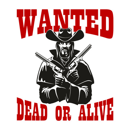 dangerous man: Dangerous criminal cowboy wanted dead or alive poster icon with brutal bearded man in leather coat and hat with revolvers in both hands. Western theme design