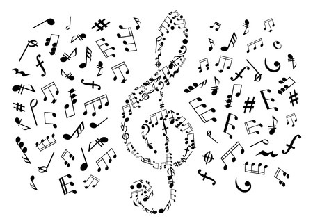 clefs: Treble clef icon composed of musical symbols and marks, surrounded by notes and key signatures, rests and chords, bass clefs and dymamics signs. May be use as music, arts and entertainment themes design