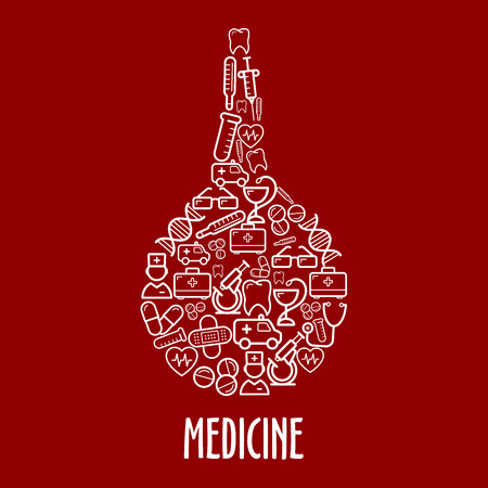 kits: Medicine and hospital icons in a shape of enema with ambulances and doctors, first aid kits and thermometers, stethoscopes and syringes, pills and hearts, microscopes and test tubes, teeth and DNA, glasses and plasters symbols