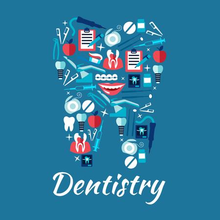atención y odontología iconos planos dentales en una forma de un diente con sillas de dentista y los instrumentos, cepillos de dientes y seda, dientes cariados y los implantes, aparatos ortopédicos y radiografías dentales, tableros con formas de chequeo y sonrisas sanas con las manzanas Ilustración de vector