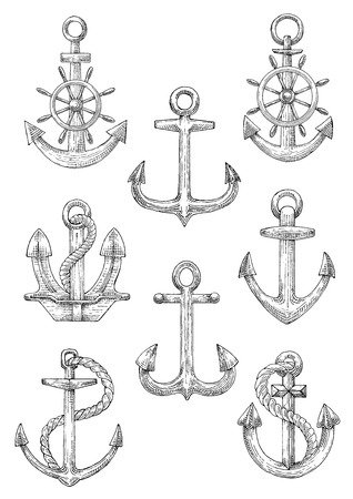flukes: Retro nautical anchors with helms and twisted ropes isolated sketch icons with decorative arrow shaped flukes and curved arms. Marine club symbol or jewelry design usage