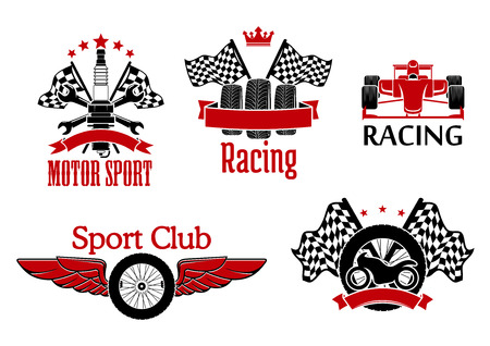 motorsport: Winged wheel, tires with racing flags and motorcycle, open wheel race car and spark plug with crossed spanners and flags on the background symbols for motorsport theme design supplemented with ribbon banners, crown and stars