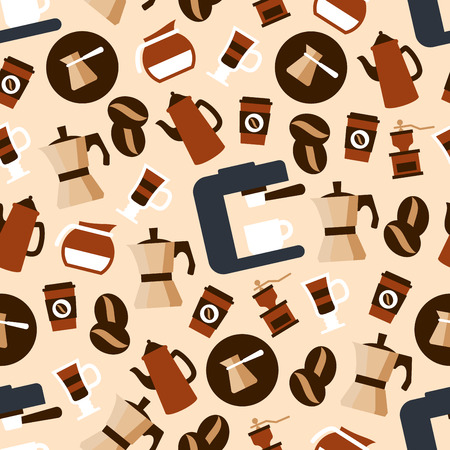 stovetop: Seamless espresso machines with cups, stovetop espresso makers and coffee pots, vintage grinders and jugs with milk, paper cups of takeaway coffee and glasses of mochachino pattern among coffee beans on delicate caramel background Illustration