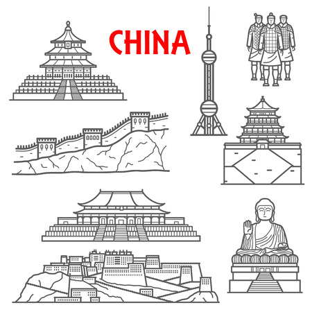 heaven: Famous ancient and modern tourist attractions of China icon for travel design with linear symbols of Great Wall, statues of Terracotta Army and Tian Tan Buddha, Forbidden City complex and Temple of Heaven, Summer and Potala palaces, Oriental Pearl Radio a