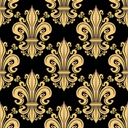 curlicues: Gorgeous seamless golden fleur-de-lis pattern over black background with decorative floral heraldic motif, adorned by curlicues. Great for luxury wallpaper or upholstery textile design Illustration
