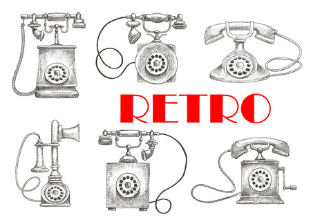 vintage drawing: Old fashioned rotary dial telephones vintage engraving sketch illustration with decorative handsets. Contact us button or communication theme design usage Illustration