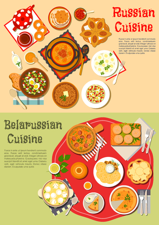 Traditional russian thin pancakes blini and belarusian potato fritters draniki flat icon served with cold soup and shchi, pies and knishes, buckwheat porridge and olivier salad, soup with dumplings and stew, tea, kvass, birch sap with bagels, cookies Иллюстрация