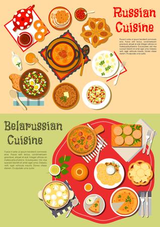 Traditionele Russische dunne pannenkoeken blini en Wit-Russische aardappelkoekjes draniki flat icon geserveerd met koude soep en shchi, taarten en knishes, boekweit pap en huzarensalade, soep met knoedels en stoofpot, thee, kvass, berkensap met bagels, koekjes