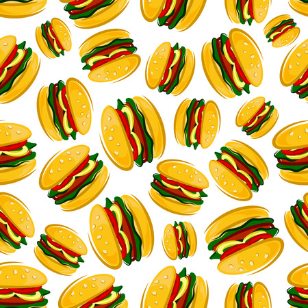 sesame seeds: Cartoon background of traditional american barbecue hamburgers with seamless pattern of grilled burger patties with fresh green leaves of lettuce, tomato and onion rings on bun topped with sesame seeds Illustration