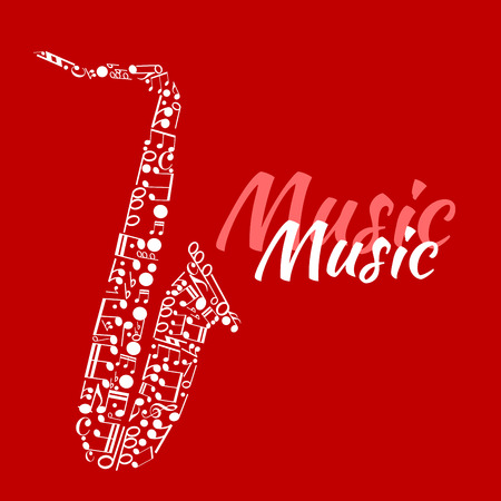 chords: Jazz concert or festival poster template design with abstract silhouette of saxophone made up of musical notes and key signatures, bass clefs and chords with text Music