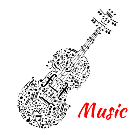 musical notation: Musical notation symbols and marks arranged into a shape of violin with fingerboard and strings made up of notes, treble and bass clefs. Entertainment or musical events design usage