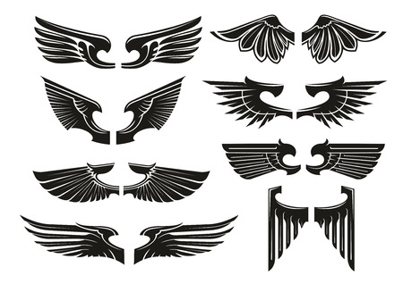 Spread wings design elements for medieval coats of arms, tattoo or jewelry with black silhouettes of paired heraldic wings