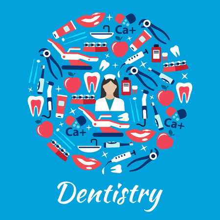 smiles teeth: Dentistry symbol with dentist surrounded by flat icons of teeth and toothbrushes with toothpastes, dentist chairs and instruments with equipments, syringes and vitamins, braces, smiles and apples