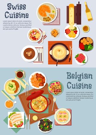 Wereldwijd populaire Zwitserse fondue en Belgische wafels pictogram met platte symbolen van Vaus aardappelgerechten en worstjes, vlees stoofschotels en gesmolten kaas raclette, gezouten lam en mosselen, gratin van witlof en beignet rosti, koffie en wijn met fruitige muesli Stock Illustratie