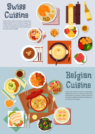 melted cheese: Worldwide popular swiss fondue and belgian waffles icon with flat symbols of various potato dishes and sausages, meat stews and melted cheese raclette, cured lamb and mussels, gratin of endives and fritter rosti, coffee and wine with fruity muesli