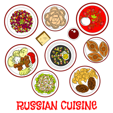 russian: National dishes of russian cuisine for dinner menu icon with borscht and cold soup with rye bread kvass, beef stroganoff and cutlets with potatoes, meat and vegetable salads, dumplings and meat pies piroshki with fruity drink kompot. Sketch style Illustration