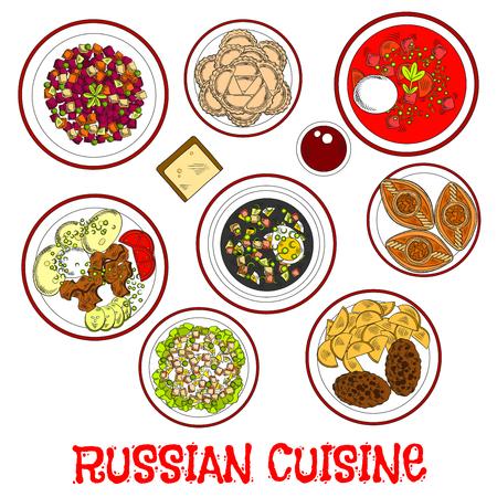 ensalada rusa: platos nacionales de la cocina rusa icono de menú para la cena con sopa de remolacha y sopa fría con kvas de pan de centeno, carne stroganoff y las chuletas con patatas, carne y vegetales ensaladas, albóndigas y pasteles de carne con piroshki kompot bebida con sabor a fruta. el estilo de dibujo Vectores