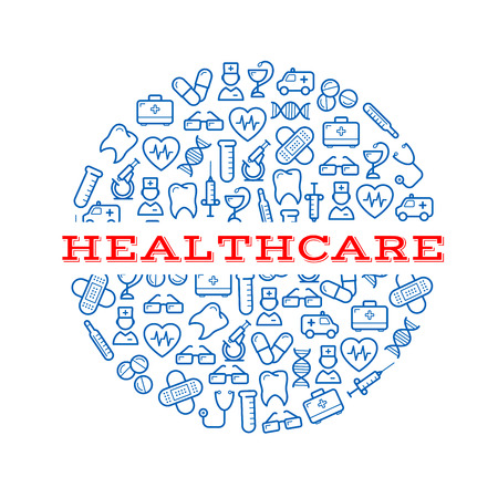 healthcare and medicine: Composite silhouette of a round pill with blue icons of syringes, pills and capsules, microscopes, stethoscopes and thermometers, ambulances, teeth and hearts, doctors, first aid kits and glasses, plasters and dna helixes. Healthcare, medicine design