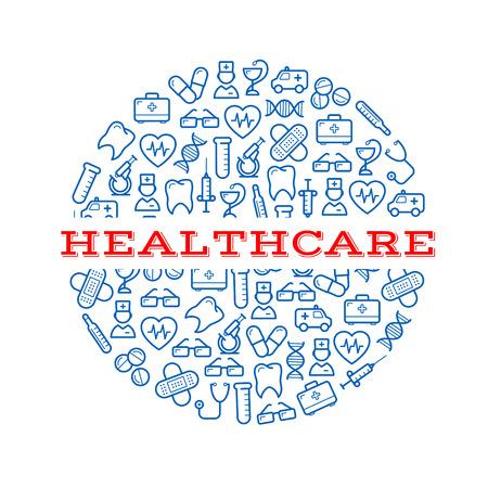 Composite-Silhouette eines runden Pille mit blauen Symbolen von Spritzen, Pillen und Kapseln, Mikroskope, Stethoskope und Thermometer, Ambulanzen, Zähne und Herzen, Ärzte, Erste-Hilfe-Kits und Gläser, Putze und dna Wendeln. Gesundheit, Medizin Design