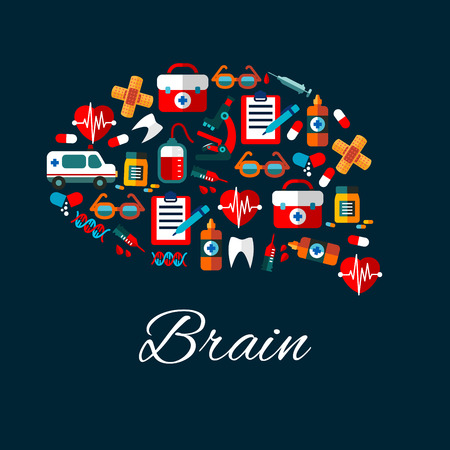 medicine bottles: Medication and healthcare symbols create a silhouette of human brain with flat icons of ambulance, hearts and teeth, medicine bottles, syringes and pills, microscope and blood bags, clipboards and DNA, first aid kits and glasses Illustration
