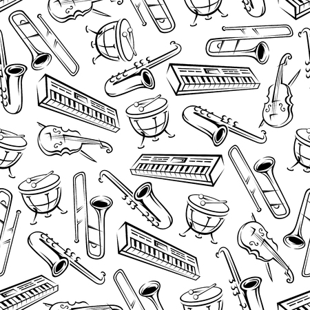 Musical background with sketch seamless pattern of saxophones and trombones, timpani drums and violins, synthesizers and cellos. Music and arts themes or scrapbook page backdrop design