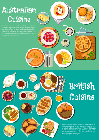 steaks: British and australian meat pies icon with full english breakfast and cod roe sandwich, sausages, hamburgers and fries, beef in pastry crust and dumplings, lamb stew and kangaroo steak, pavlova cake, berry fool and tarts with drinks. Flat style